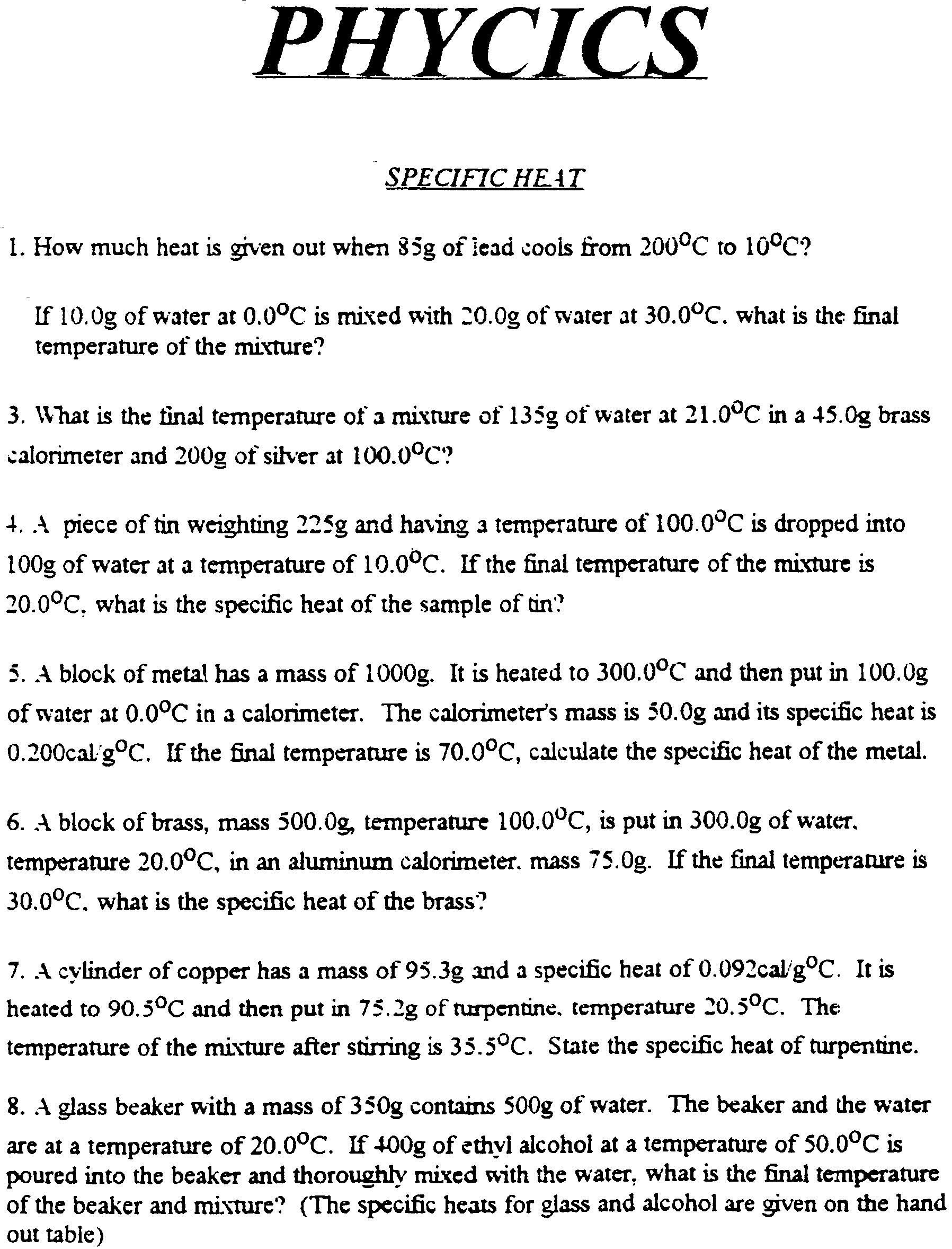 Worksheet Specific Heat Worksheet this page contains the tentative specific heat constants phycics worksheet